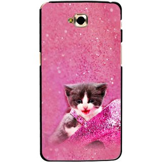 Snooky Printed Pink Cat Mobile Back Cover For Lg G Pro Lite - Multicolour