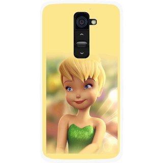 Snooky Printed Butterfly Girl Mobile Back Cover For Lg G2 - Yellow