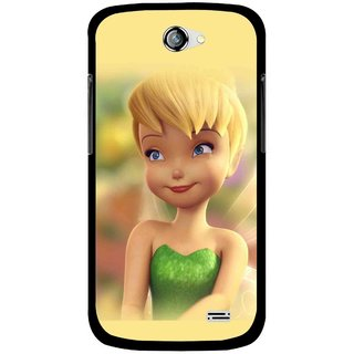 Snooky Printed Butterfly Girl Mobile Back Cover For Gionee Pioneer P2 - Yellow