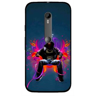 Snooky Printed Live In Attitude Mobile Back Cover For Moto G3 - Blue