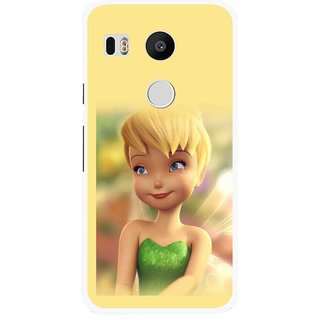 Snooky Printed Butterfly Girl Mobile Back Cover For Lg Google Nexus 5X - Yellow