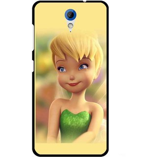 Snooky Printed Butterfly Girl Mobile Back Cover For HTC Desire 620 - Yellow