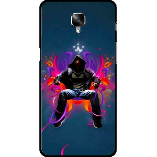 Snooky Printed Live In Attitude Mobile Back Cover For OnePlus 3 - Blue