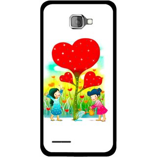 Snooky Printed Heart Plant Mobile Back Cover For Micromax Canvas Mad A94 - White