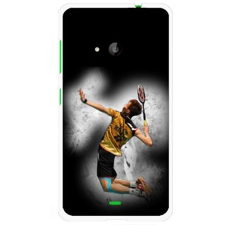 Snooky Printed Badminton Mania Mobile Back Cover For Microsoft Lumia 535 - Black