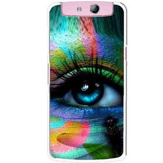 Snooky Printed Designer Eye Mobile Back Cover For Oppo N1 Mini - Multicolour