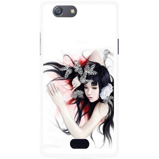 Snooky Printed Sleeping Girl Mobile Back Cover For Oppo Neo 5 - Multicolour