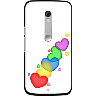 Snooky Printed Colorfull Hearts Mobile Back Cover For Motorola Moto X Style - White