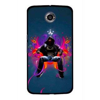 Snooky Printed Live In Attitude Mobile Back Cover For Motorola Nexus 6 - Blue