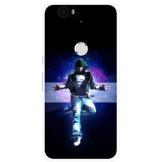 Snooky Printed Hug Me Mobile Back Cover For Huawei Nexus 6P - Black