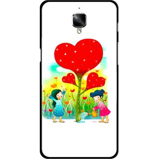 Snooky Printed Heart Plant Mobile Back Cover For OnePlus 3 - White