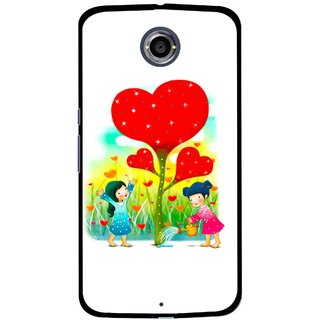 Snooky Printed Heart Plant Mobile Back Cover For Motorola Nexus 6 - White
