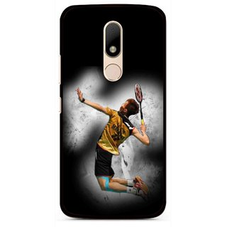 Snooky Printed Badminton Mania Mobile Back Cover For Motorola Moto M - Black