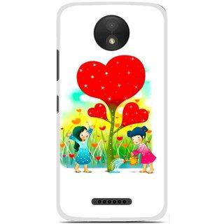 Snooky Printed Heart Plant Mobile Back Cover For Motorola Moto C Plus - White