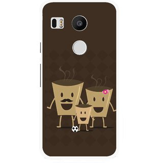 Snooky Printed Wake Up Coffee Mobile Back Cover For Lg Google Nexus 5X - Brown