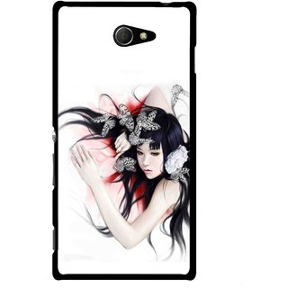 Snooky Printed Sleeping Girl Mobile Back Cover For Sony Xperia M2 - Multicolour