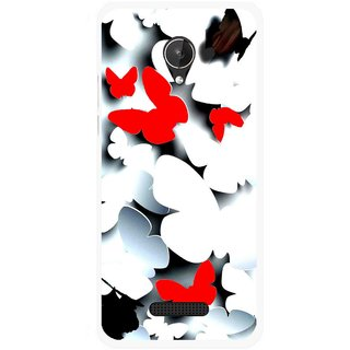 Snooky Printed Butterfly Mobile Back Cover For Micromax Canvas Spark Q380 - Multicolour