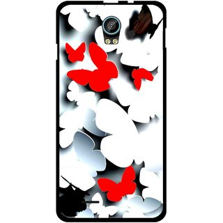 Snooky Printed Butterfly Mobile Back Cover For Intex Aqua Life 2 - Multicolour