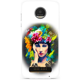 Snooky Printed Classy Girl Mobile Back Cover For Moto Z Play - White