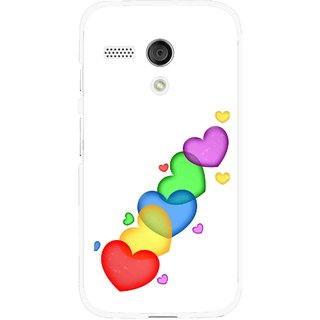 Snooky Printed Colorfull Hearts Mobile Back Cover For Moto G - White
