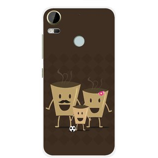 Snooky Printed Wake Up Coffee Mobile Back Cover For HTC Desire 10 Pro - Brown