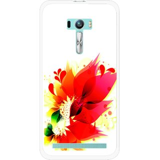 Snooky Printed Flowery Red Mobile Back Cover For Asus Zenfone Selfie - White