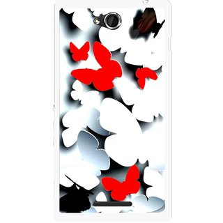 Snooky Printed Butterfly Mobile Back Cover For Sony Xperia C - Multicolour