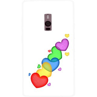 Snooky Printed Colorfull Hearts Mobile Back Cover For OnePlus 2 - White