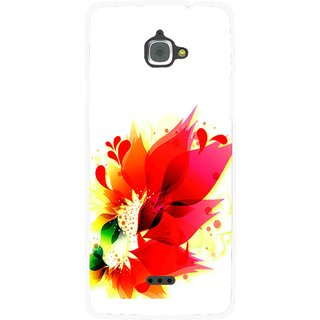 Snooky Printed Flowery Red Mobile Back Cover For Infocus M350 - White