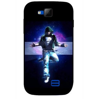 Snooky Printed Hug Me Mobile Back Cover For Micromax Canvas Fun A63 - Black