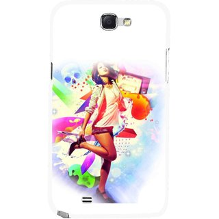Snooky Printed Shopping Girl Mobile Back Cover For Samsung Galaxy Note 2 - Multicolour