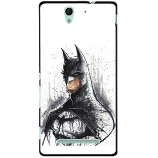 Snooky Printed Angry Batman Mobile Back Cover For Sony Xperia C3 - Multicolour