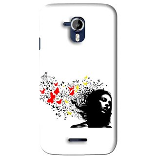 Snooky Printed Butterfly Girl Mobile Back Cover For Micromax Canvas Magnus A117 - Multi