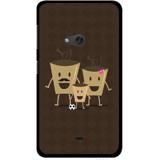 Snooky Printed Wake Up Coffee Mobile Back Cover For Nokia Lumia 625 - Brown