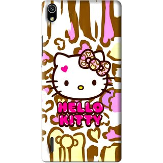 Snooky Printed Cute Kitty Mobile Back Cover For Huawei Ascend P7 - Multi