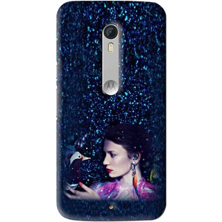 Snooky Printed Blue Lady Mobile Back Cover For Motorola Moto X Play - Multi