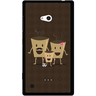 Snooky Printed Wake Up Coffee Mobile Back Cover For Nokia Lumia 720 - Brown