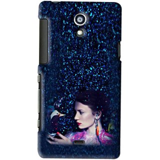 Snooky Printed Blue Lady Mobile Back Cover For SONY XPERIA T - Multi