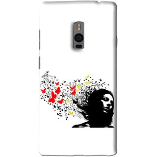 Snooky Printed Butterfly Girl Mobile Back Cover For OnePlus 2 - Multi