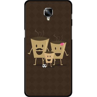 Snooky Printed Wake Up Coffee Mobile Back Cover For OnePlus 3 - Brown