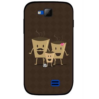 Snooky Printed Wake Up Coffee Mobile Back Cover For Micromax Canvas Fun A63 - Brown