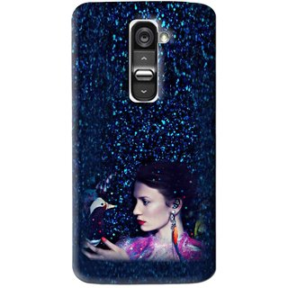 Snooky Printed Blue Lady Mobile Back Cover For Lg G2 - Multi