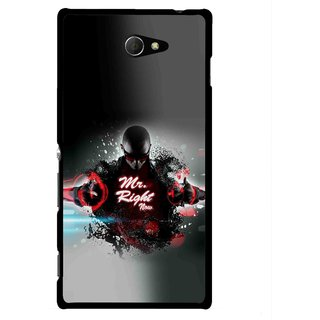 Snooky Printed Mr.Right Mobile Back Cover For Sony Xperia M2 - Multicolour