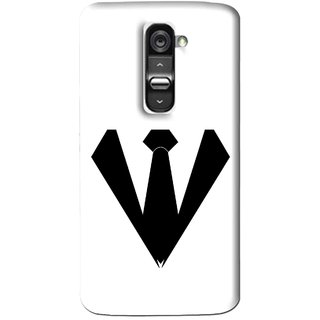 Snooky Printed Tie Collar Mobile Back Cover For Lg G2 - Multi