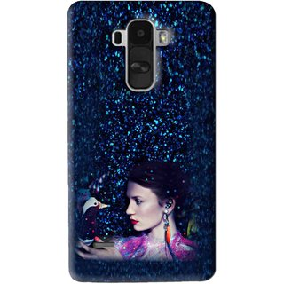 Snooky Printed Blue Lady Mobile Back Cover For Lg G4 Stylus - Multi