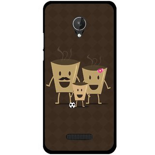 Snooky Printed Wake Up Coffee Mobile Back Cover For Micromax Canvas Spark Q380 - Brown
