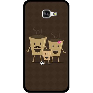Snooky Printed Wake Up Coffee Mobile Back Cover For Samsung Galaxy A3 (2016) - Brown