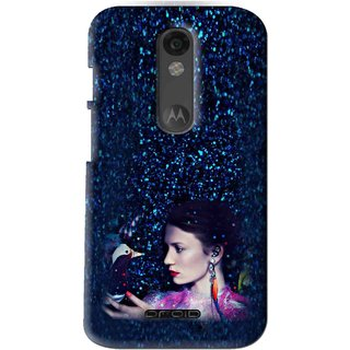 Snooky Printed Blue Lady Mobile Back Cover For Moto X Force - Multi