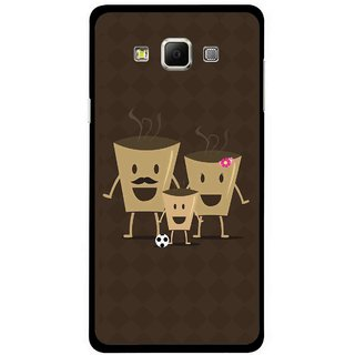Snooky Printed Wake Up Coffee Mobile Back Cover For Samsung Galaxy E5 - Brown