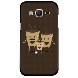 Snooky Printed Wake Up Coffee Mobile Back Cover For Samsung Galaxy j2 - Brown